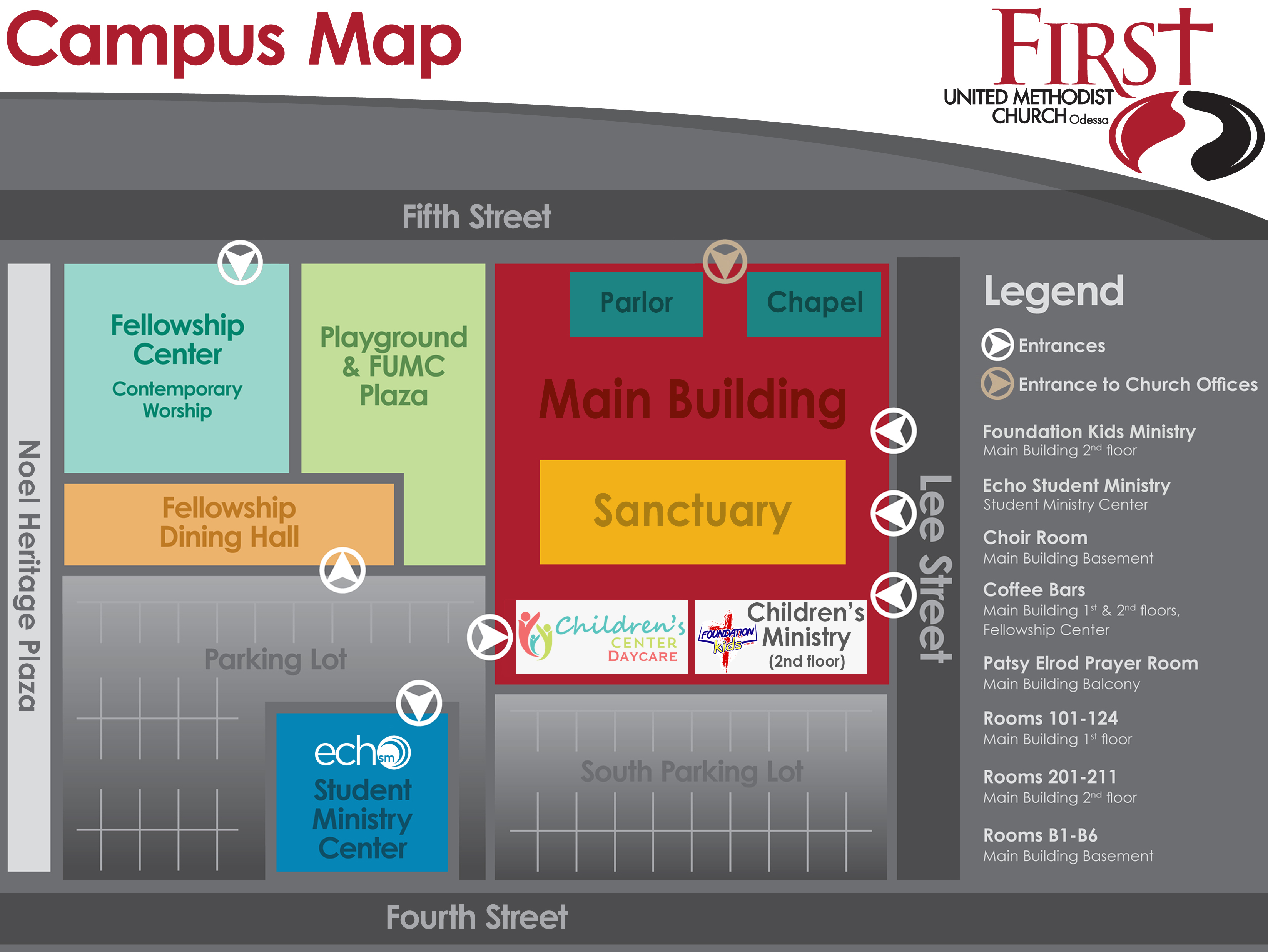 Holy Family Campus Map.Campus Map First United Methodist Church Of Odessa Tx